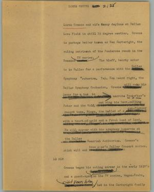 Primary view of object titled '[News Script: Lorne Greene]'.