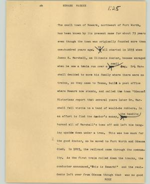 Primary view of object titled '[News Script: Newark marker]'.