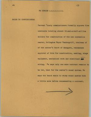 Primary view of object titled '[News Script: FW comish]'.