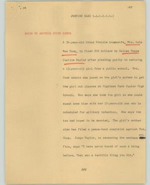 Primary view of object titled '[News Script: Justice case]'.