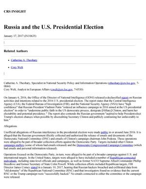 Primary view of object titled 'Russia and the U.S. Presidential Election'.