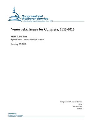 Primary view of object titled 'Venezuela: Issues for Congress, 2013-2016'.