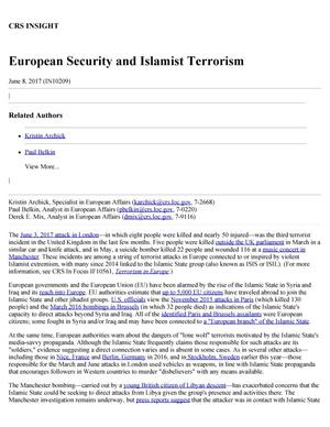 Primary view of object titled 'European Security and Islamist Terrorism'.