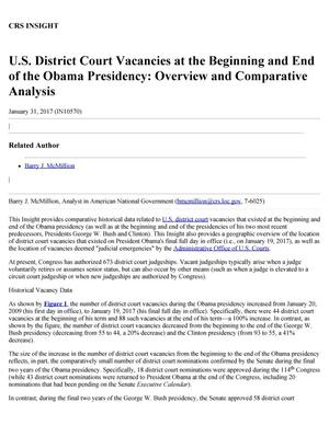 Primary view of object titled 'U.S. District Court Vacancies at the Beginning and End of the Obama Presidency: Overview and Comparative Analysis'.