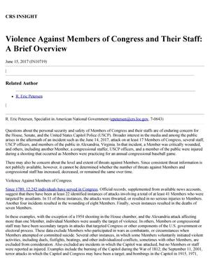 Primary view of object titled 'Violence Against Members of Congress and Their Staff: A Brief Overview'.