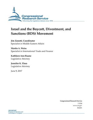Primary view of object titled 'Israel and the Boycott, Divestment, and Sanctions (BDS) Movement'.