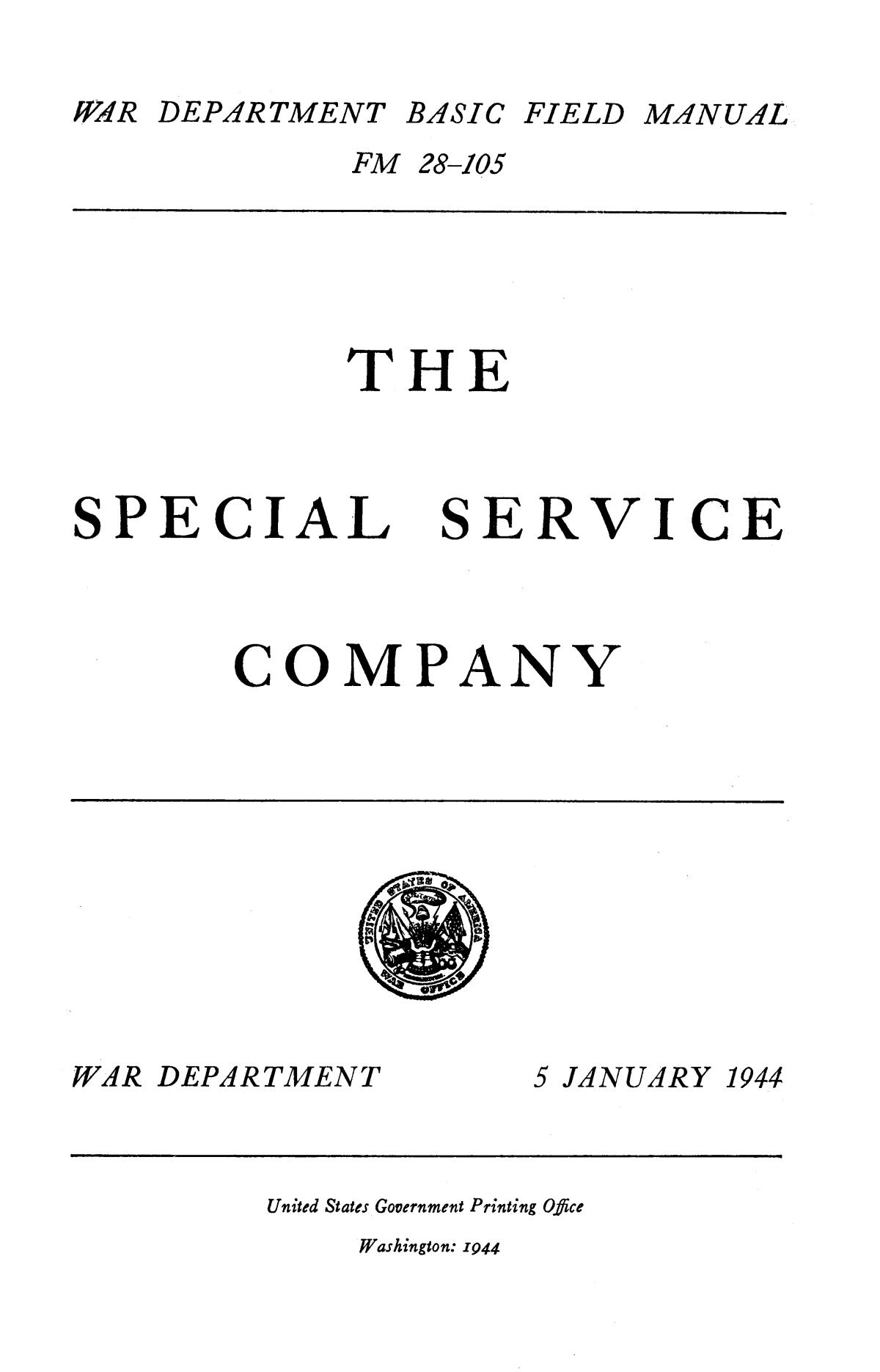 The Special Service Company.                                                                                                      Title Page