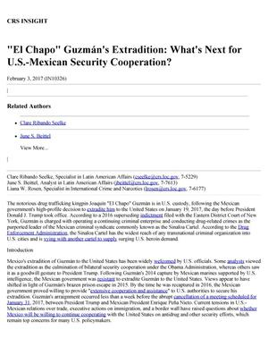 "Primary view of object titled '""El Chapo"" Guzmán's Extradition: What's Next for U.S.-Mexican Security Cooperation?'."
