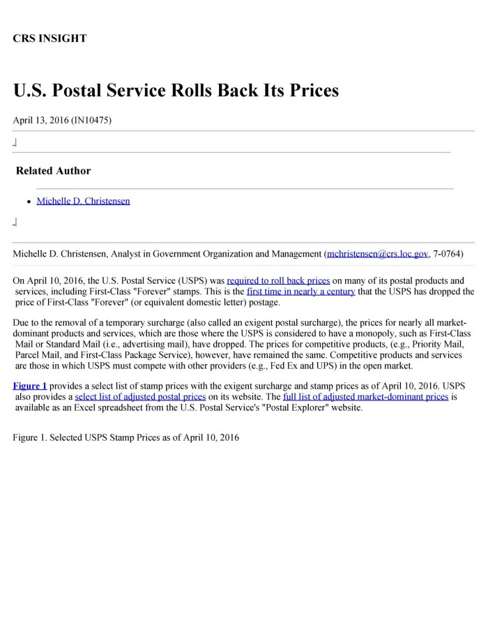U S Postal Service Rolls Back Its Prices Unt Digital Library