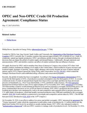 Primary view of object titled 'OPEC and Non-OPEC Crude Oil Production Agreement: Compliance Status'.