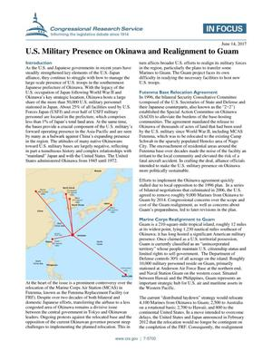 Primary view of object titled 'U.S. Military Presence on Okinawa and Realignment to Guam'.