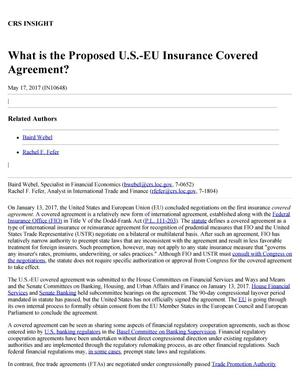 Primary view of What is the Proposed U.S.-EU Insurance Covered Agreement?