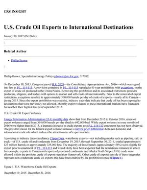 Primary view of object titled 'U.S. Crude Oil Exports to International Destinations'.