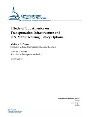 Primary view of object titled 'Effects of Buy America on Transportation Infrastructure and U.S. Manufacturing: Policy Options'.