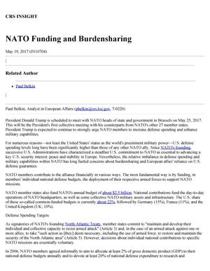 Primary view of object titled 'NATO Funding and Burdensharing'.