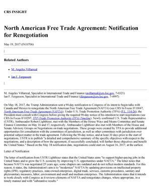 Primary view of object titled 'North American Free Trade Agreement: Notification for Renegotiation'.