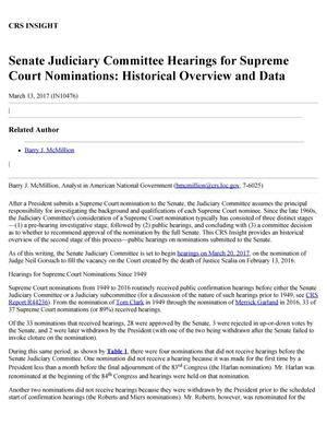 Primary view of object titled 'Senate Judiciary Committee Hearings for Supreme Court Nominations: Historical Overview and Data'.
