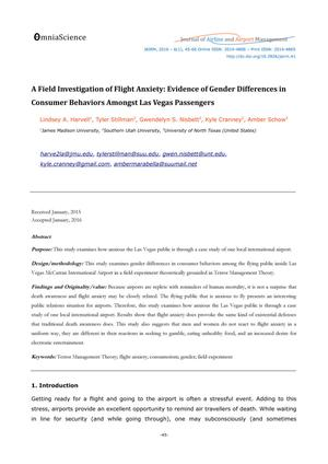 A Field Investigation of Flight Anxiety: Evidence of Gender Differences in Consumer Behaviors Amongst Las Vegas Passengers