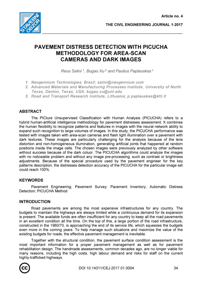 Pavement Distress Detection with PICUCHA Methodology for Area-Scan