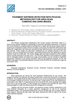 Primary view of object titled 'Pavement Distress Detection with PICUCHA Methodology for Area-Scan Cameras and Dark Images'.