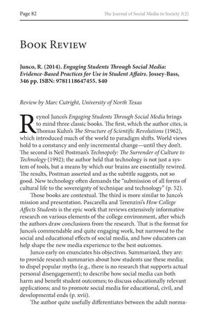 Book Review: Engaging Students Through Social Media: Evidence-Based Practices for Use in Student Affairs