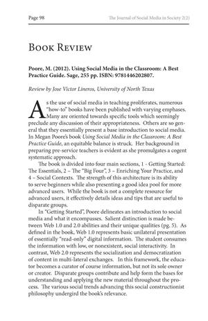 Primary view of object titled 'Book Review: Using Social Media in the Classroom: A Best Practice Guide'.