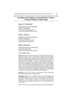 Learning and Teaching as Communicative Actions: A Mixed-Methods Twitter Study