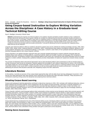 Primary view of object titled 'Using Corpus-based Instruction to Explore Writing Variation Across the Disciplines: A Case History in a Graduate-level Technical Editing Course'.