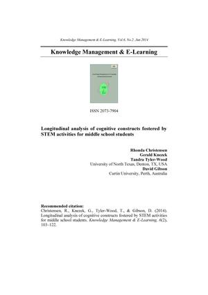 Longitudinal analysis of cognitive constructs fostered by STEM activities for middle school students