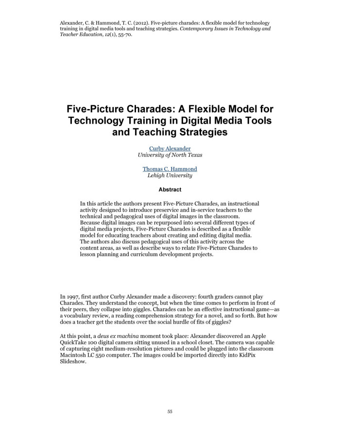 Five Picture Charades A Flexible Model For Technology Training In