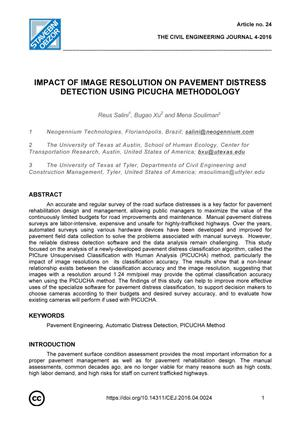 Primary view of object titled 'Impact of Image Resolution Pavement Distress Detection Using PICUCHA Methodology'.
