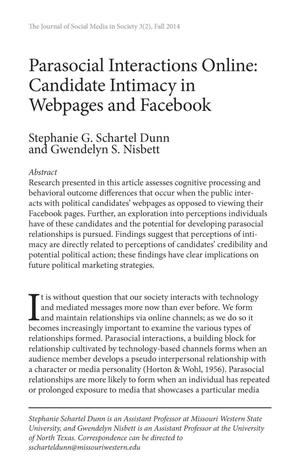 Parasocial Interactions Online: Candidate Intimacy in Webpages and Facebook