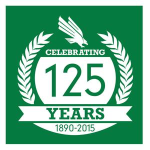 Primary view of object titled '[Green and White 125th Anniversary Logo]'.