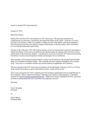 Primary view of object titled '[Letter From Neal Smatresk to Internal UNT Representatives, January 23, 2015]'.