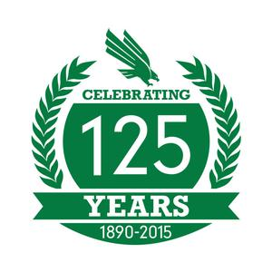 Primary view of object titled '[White and Green 125th Anniversary Logo]'.