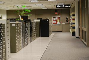 Primary view of object titled '[Hallway of the Microforms department]'.