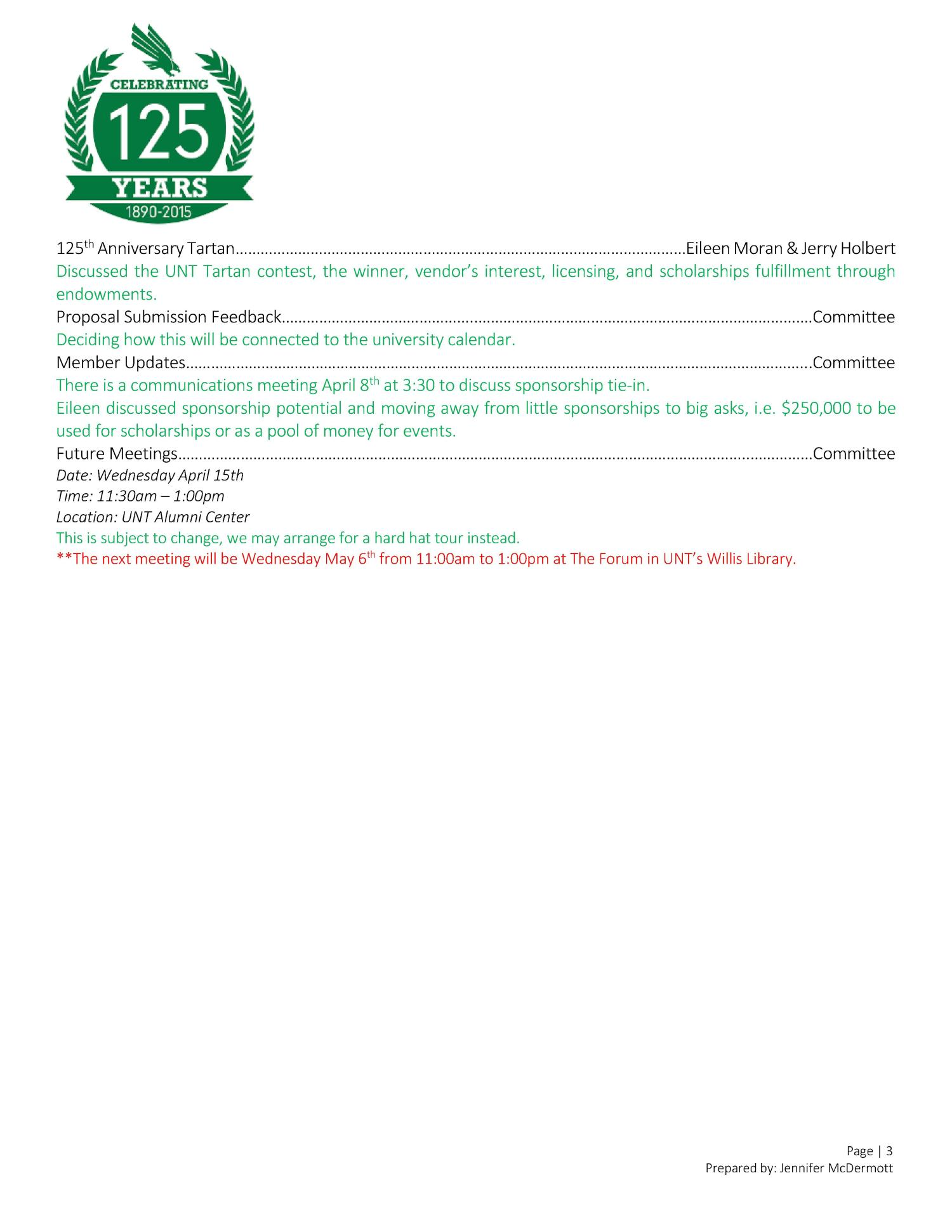 UNT 125th Anniversary Steering Committee Third Meeting                                                                                                      [Sequence #]: 3 of 3