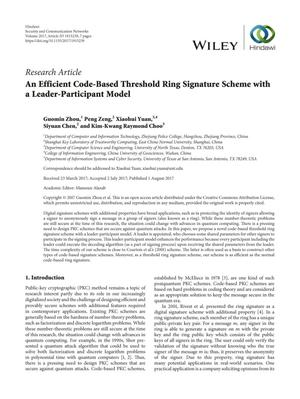 An Efficient Code-Based Threshold Ring Signature Scheme with a Leader-Participant Model