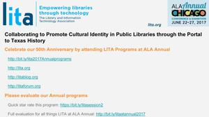 Primary view of object titled 'Collaborating to Promote Cultural Identity in Public Libraries through the Portal to Texas History'.