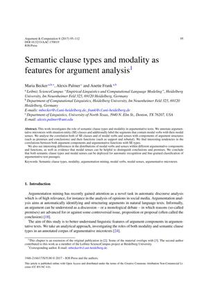 Semantic clause types and modality as features for argument analysis
