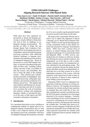 STREAMLInED Challenges: Aligning Research Interests with Shared Tasks