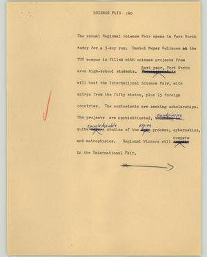 Primary view of object titled '[News Script: Science fair]'.