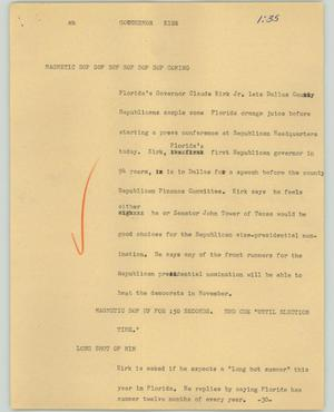 Primary view of object titled '[News Script: Governor Kirk]'.