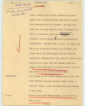 Primary view of object titled '[News Script: Supreme court]'.