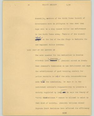 Primary view of object titled '[News Script: Police academy]'.