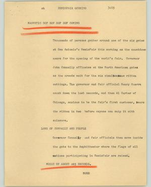 Primary view of object titled '[News Script: Hemisfair opening]'.