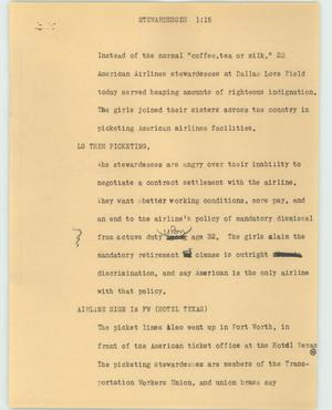 Primary view of object titled '[News Script: Stewardesses]'.