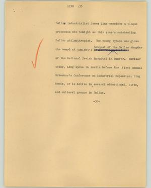 Primary view of object titled '[News Script: Ling]'.