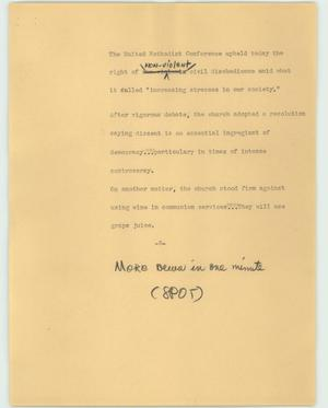 Primary view of object titled '[News Script: United Methodist Conference]'.