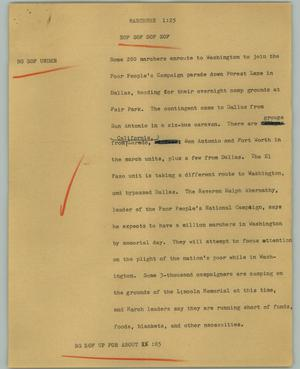 Primary view of object titled '[News Script: Marchers]'.
